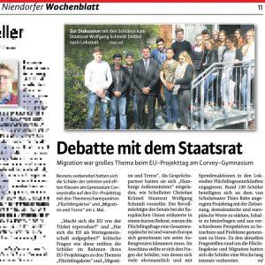 Debatte mit dem Staatsrat - Niendorfer Wochenblatt 11.05.2016
